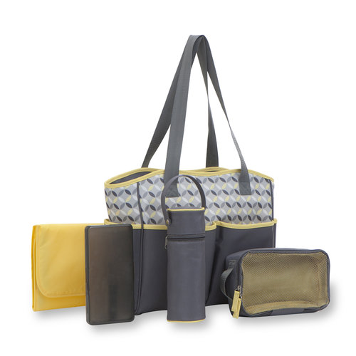 Baby Boom Tote Diaper Bag 5pc set , Grey/Yellow