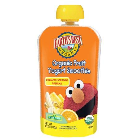 Earth's Best Organic Sesame Street Toddler Fruit Yogurt Smoothie, Pineapple, Orange and Banana, 4.2 oz. Pouch (6