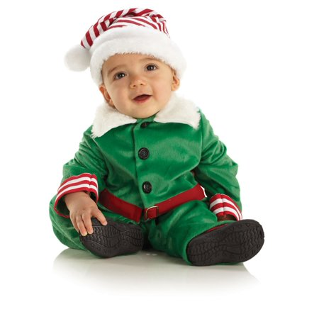 CHRISTMAS ELF boys kids infant baby green velvet halloween costume 6M 12M](Baby Costume Boy)
