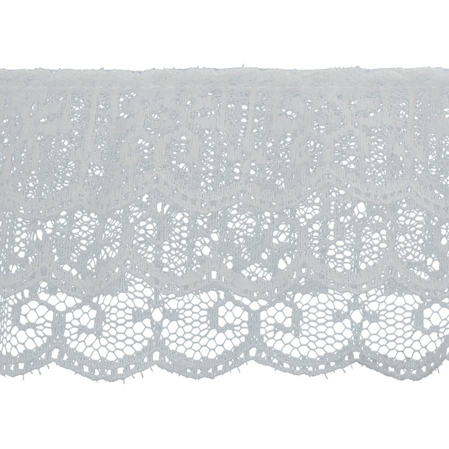 """3 Tiered Ruffled Lace Trim 2 - 1/2"""" x 18yd - White"""