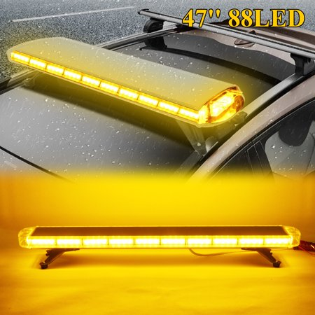 Emergency Vehicle Light Bars (88 LED Car Truck Strobe Light Bar Roof Top Beacon Amber Emergency Vehicle Flashing Warning Work Lamp 47'' 88W)