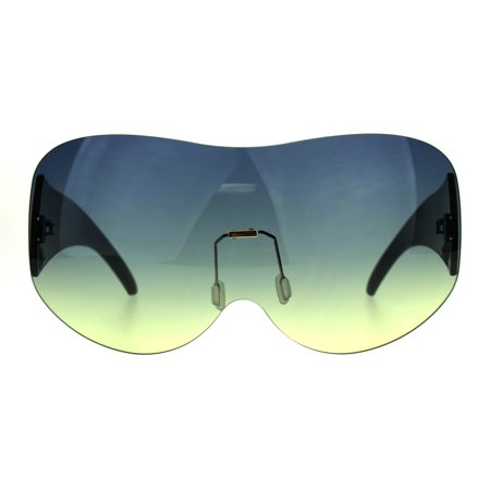 Extra Large Fighter Jet Mask Shield Pilots Sunglasses Blue (Fighter Pilot Sunglasses)