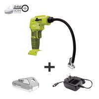 Sun Joe 24V-AJC-LTE Cordless Portable Air Compressor with Nozzle Adapters, Automatic Digital Pressure Gauge, Built-in LED Light & Case | 24-Volt | 2.0-Amp (Green)