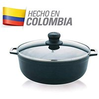 IMUSA USA 3.7 Quart Aluminum Nonstick Caldero (Dutch Oven) with Tempered Glass Lid/Steam Vent, Blue