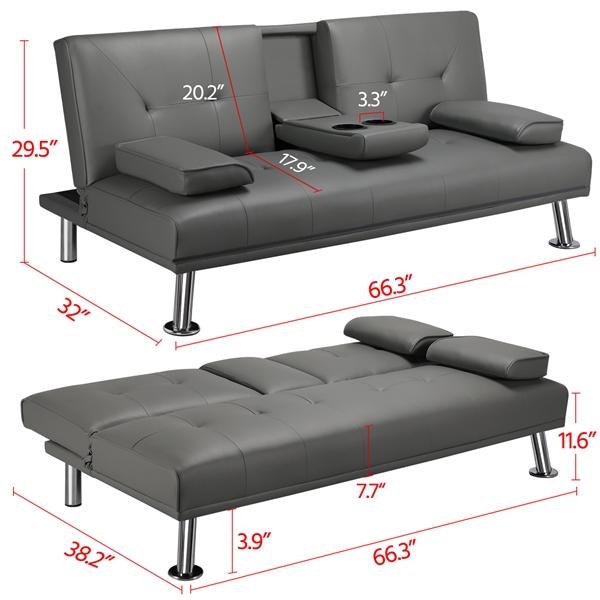 Pleasant Luxurygoods Modern Pu Leather Futon W Cupholders Pillows Machost Co Dining Chair Design Ideas Machostcouk