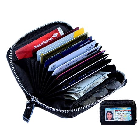 Women's Genuine Leather Credit Card Holder RFID Secure Spacious Cute Zipper Card Wallet Small Purse with ID