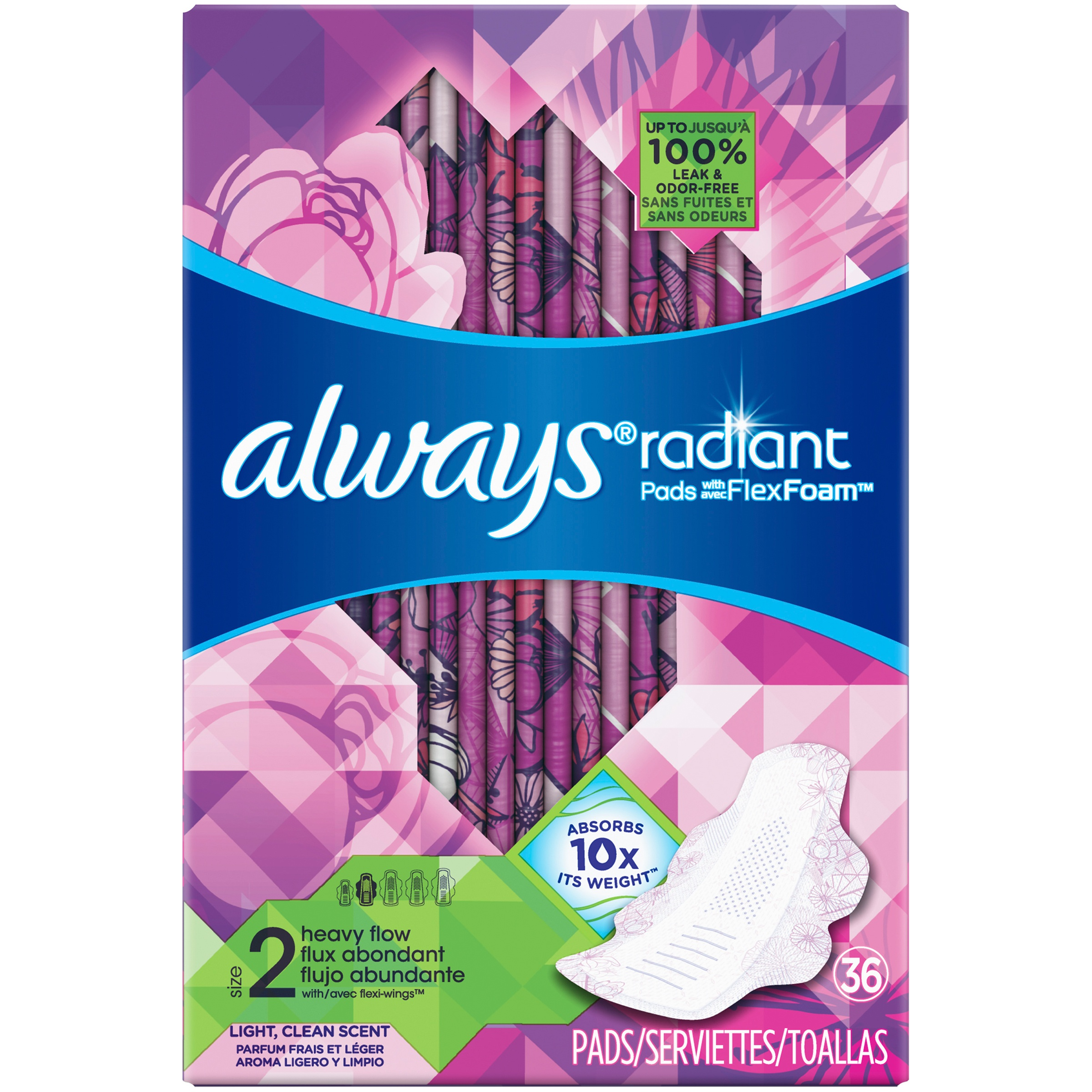 Always Radiant Size 2 Heavy Flow Pads with Wings Pads, Scented (Choose Count)