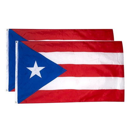Image of Puerto Rico Flags - 2-Piece Outdoor 3X5 Feet Puerto Rico Flags, Puerto Rican National Flag Banners, Double Stitched Polyester Flags With Brass Grommets