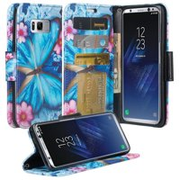 Samsung Galaxy S8 Case, SM-G950 Wallet Case, Pu Leather Wallet Case [Kickstand] with ID & Credit Card Slots - Black