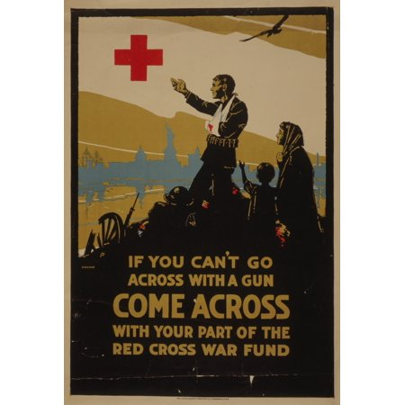 Poster 1917 Come across with your part of the Red Cross war fund Poster Print by  CW Love