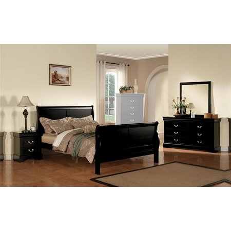 1PerfectChoice Louis Philippe 4pcs Black Cal King Sleigh Bedroom Set