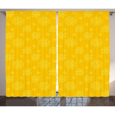 Yellow Decor Curtains 2 Panels Set, Sun Solar Hand Drawn Style Pattern with Little Spiral Spots Like Hot Summer Sun, Window Drapes for Living Room Bedroom, 108W X 84L Inches, Yellow, by
