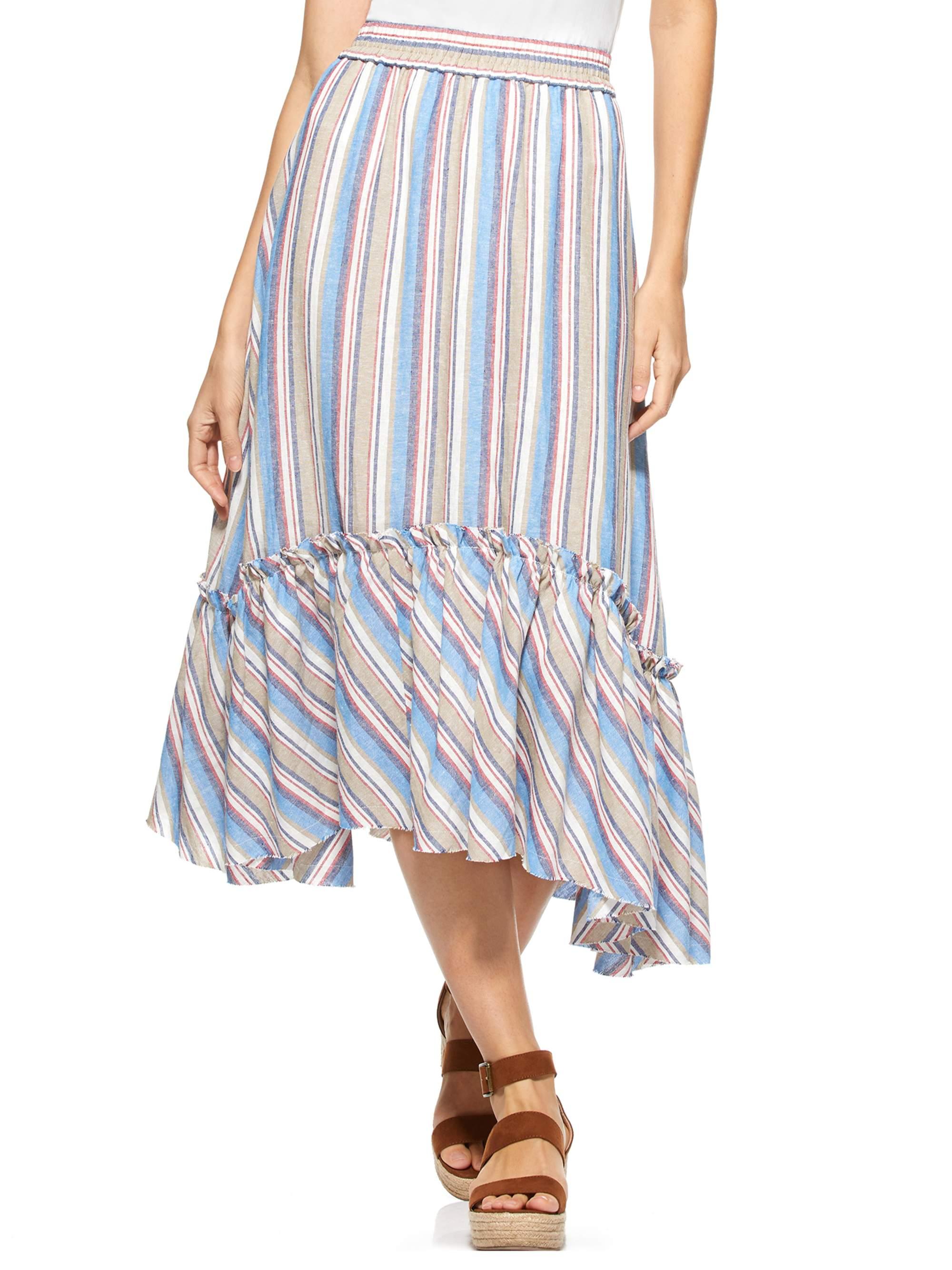 Scoop  Scoop Ruffle Gem Linen Stripe Skirt Women?s