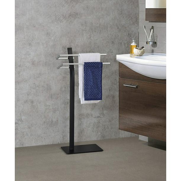 Skipper Freestanding Bathroom Towel Rack With Two Bars Black Chrome Metal Walmart Com Walmart Com