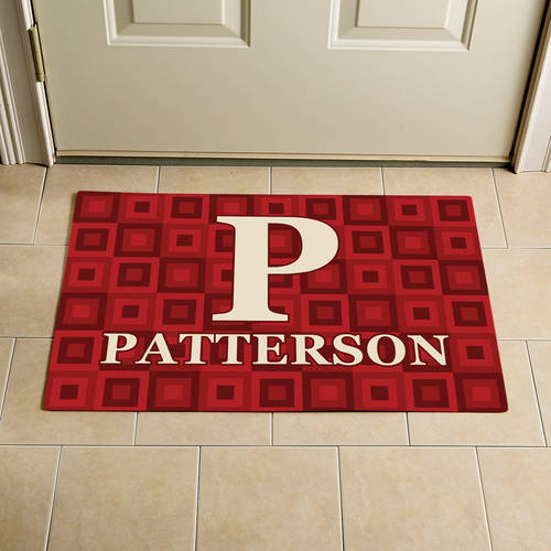 "Personalized Square Initial and Name Doormat, Red, 17"" x 27"""