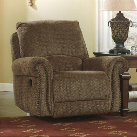 Ashley macnair 2930061 swivel glider recliner with plush for Bulldog pad over chaise rocker recliner