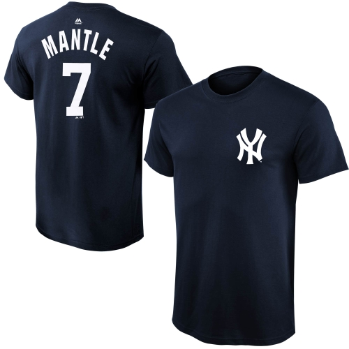 Mickey Mantle New York Yankees Majestic Youth Cooperstown Collection Name & Number T-Shirt - Navy Blue