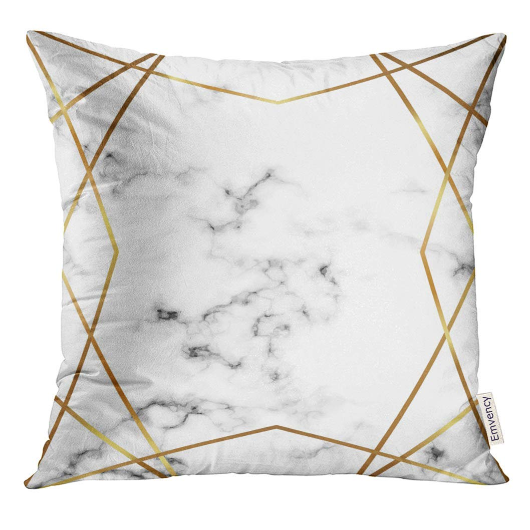 USART Marble with Gold Lines Geometric for Holiday Designs Party Birthday Wedding Save The Date Anniversary Pillow Case 18x18 Inches Pillowcase