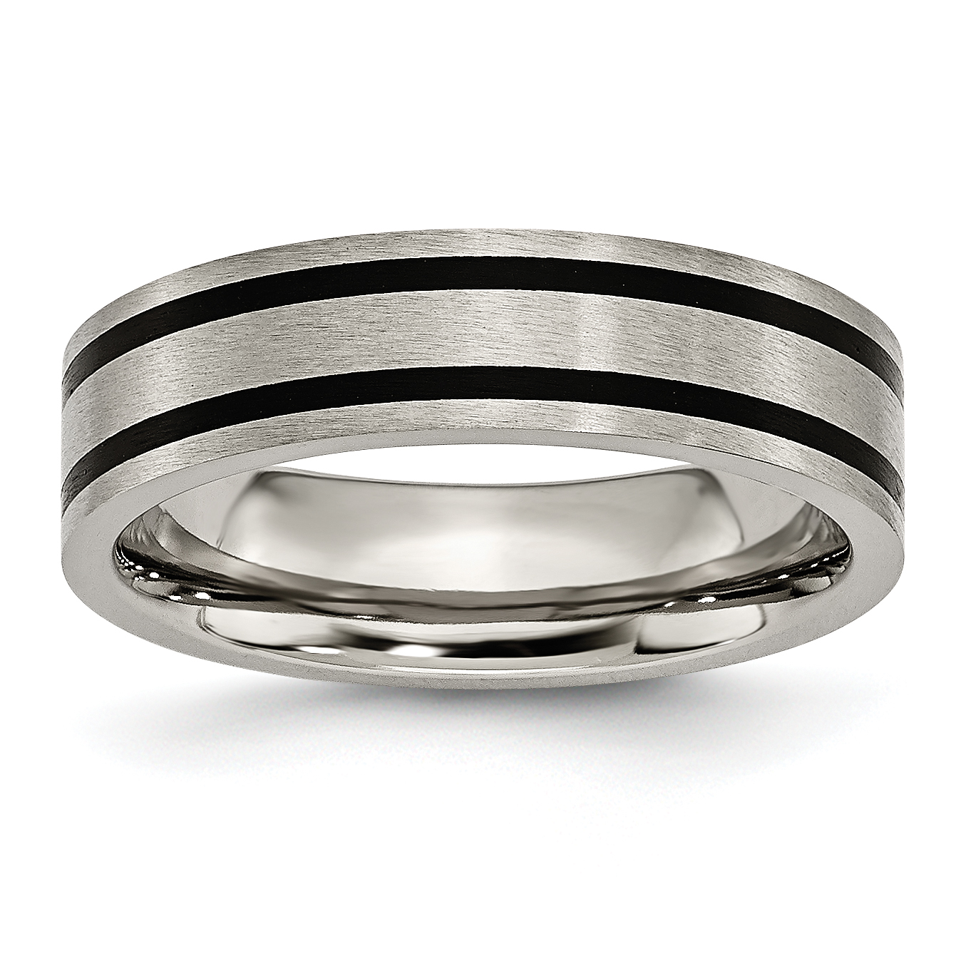 Titanium Brushed Enameled Flat 6mm Wedding Ring Band Size 7.00 Fashion Jewelry Gifts For Women For Her - image 6 de 6
