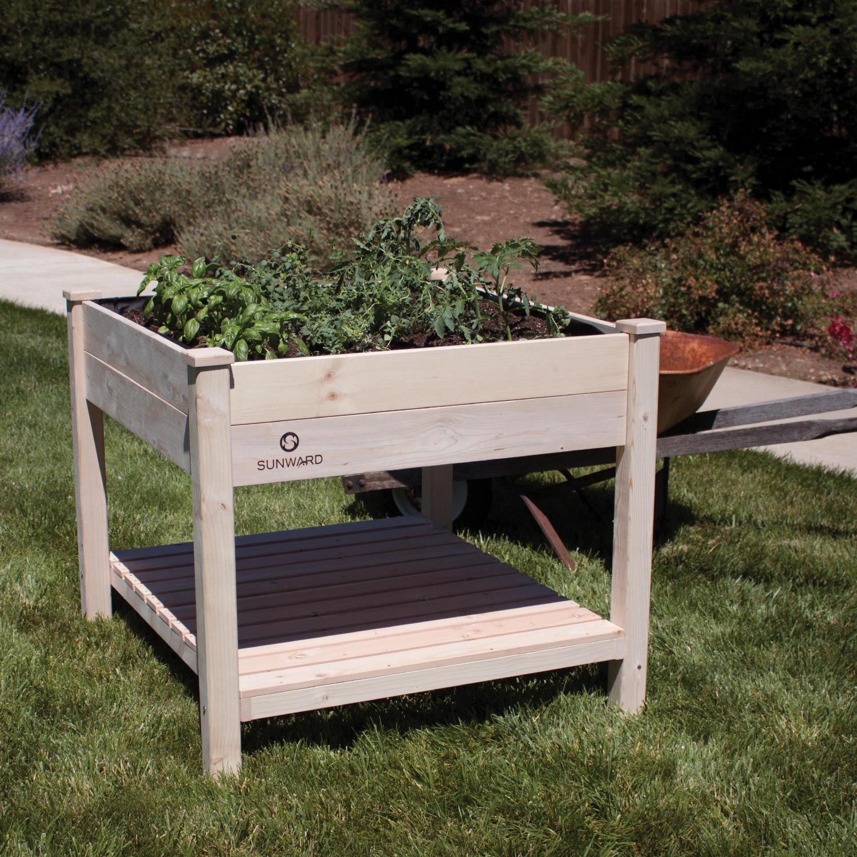 "Raised Garden Bed Construction: Sunward Patio Raised Garden Bed Kit / 36"" X 36"" Tooless"