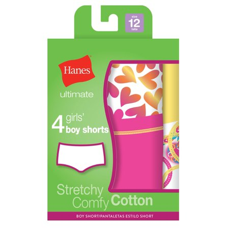 Girls Ultimate TAGLESS 4-Pack Cotton Stretch Boy Shorts, 16, (Best Shapewear Boy Shorts)