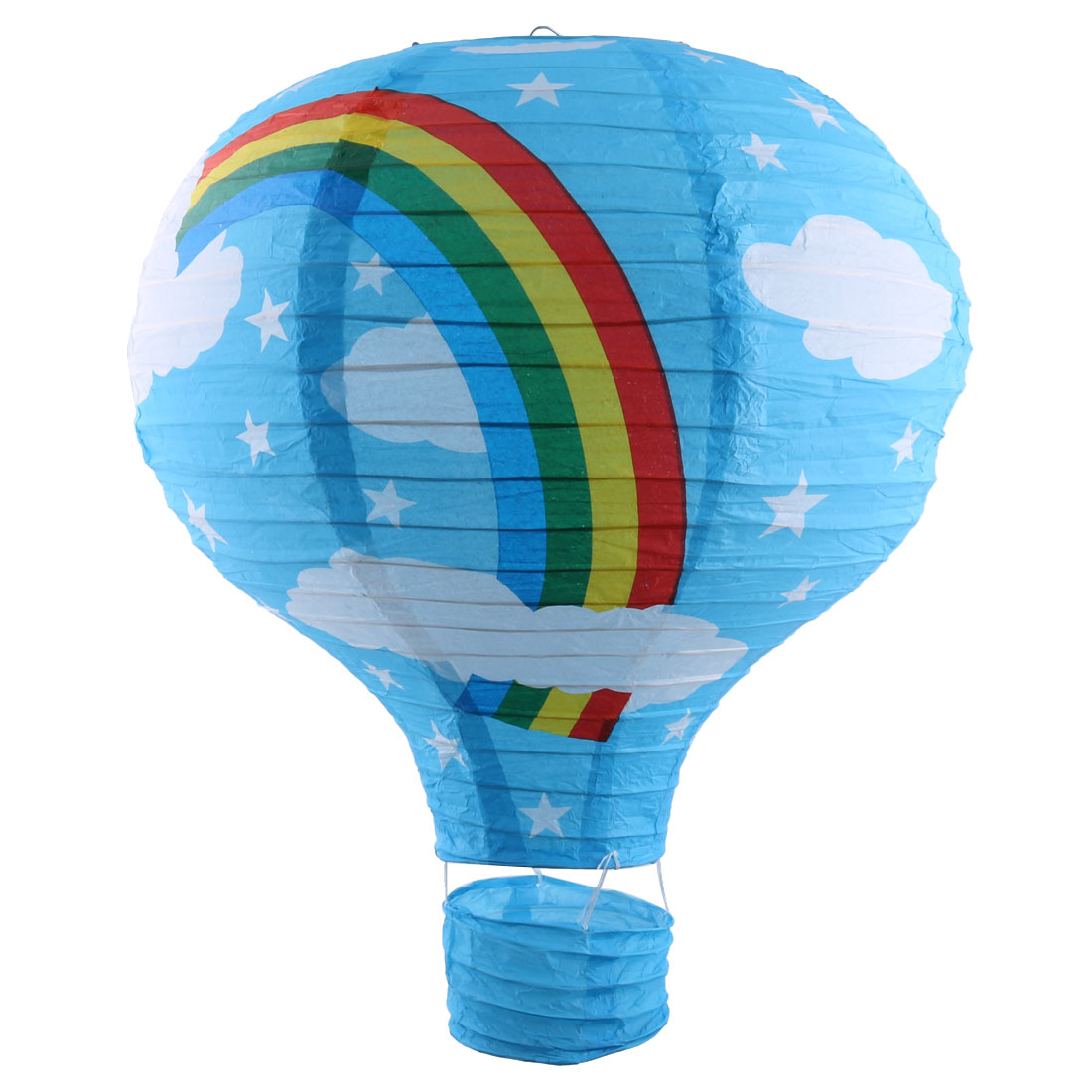 Wedding Festival Paper Rainbow Pattern Decorative Hot Air Balloon Lantern Blue