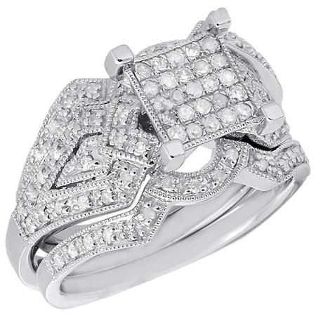 - Diamond Bridal Set 3 Piece .925 Sterling Silver Filigree Engagement Ring 0.45 Ct