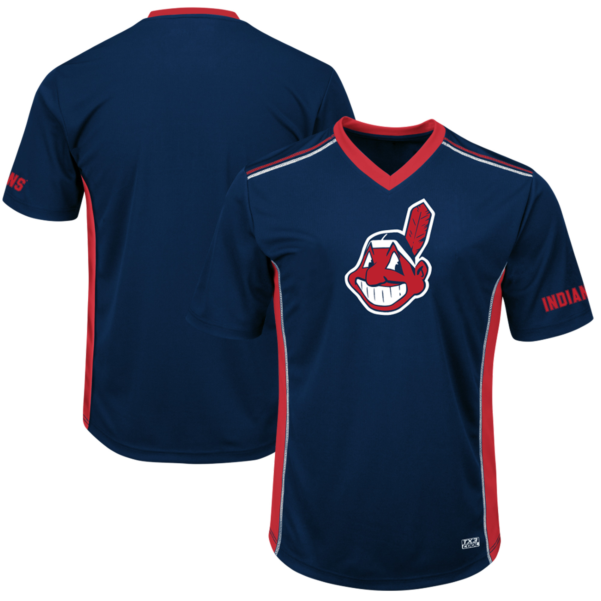 Men's Majestic Navy/Red Cleveland Indians Big & Tall Memorable Moments T-Shirt
