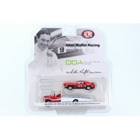 1969 Ford 302 - 1968 Allan Moffat Racing 1968 Ford F-350 Ramp Truck & 1969 Ford Mustang Boss 302 Trans Am #9 Coca Cola, Red/White - ACME 51139 - 1/64 Scale Diecast Model Toy Car