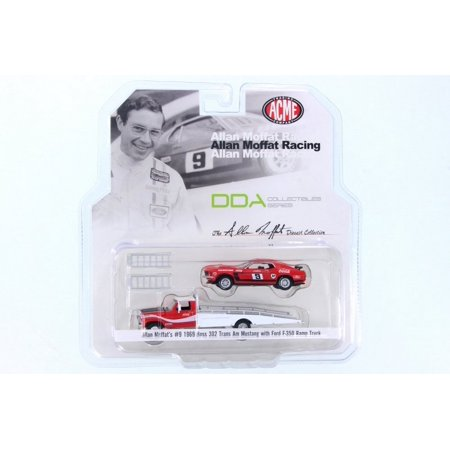 1968 Allan Moffat Racing 1968 Ford F-350 Ramp Truck & 1969 Ford Mustang Boss 302 Trans Am #9 Coca Cola, Red/White - ACME 51139 - 1/64 Scale Diecast Model Toy Car 1969 Trans Am Convertible