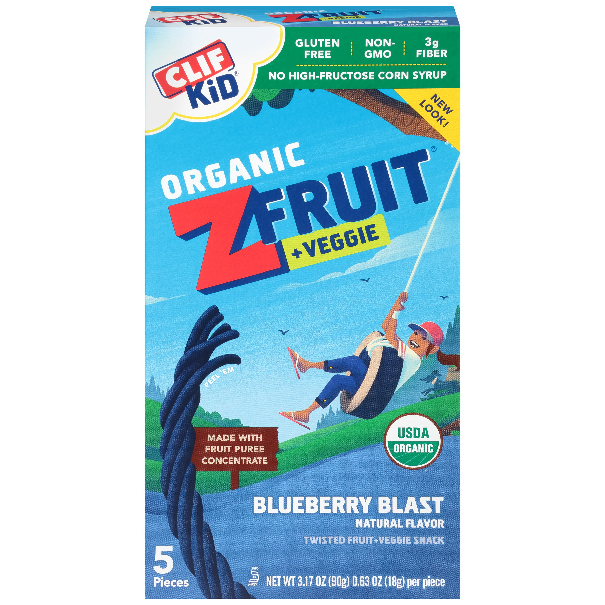 Clif Kid Organic Z Fruit + Veggie Fruit Twists, Blueberry Blast, 3.2 oz, 5 Ct