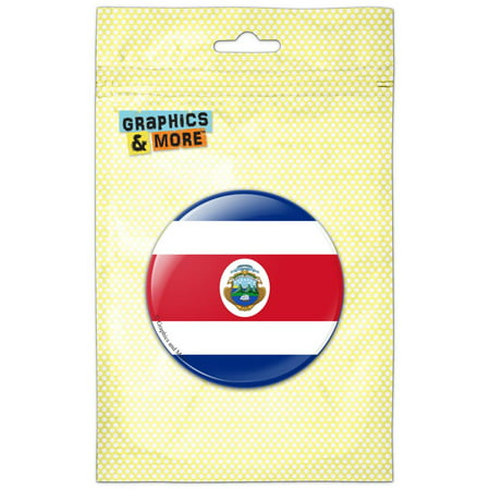 Costa Rica National Country Flag Pinback Button Pin Badge