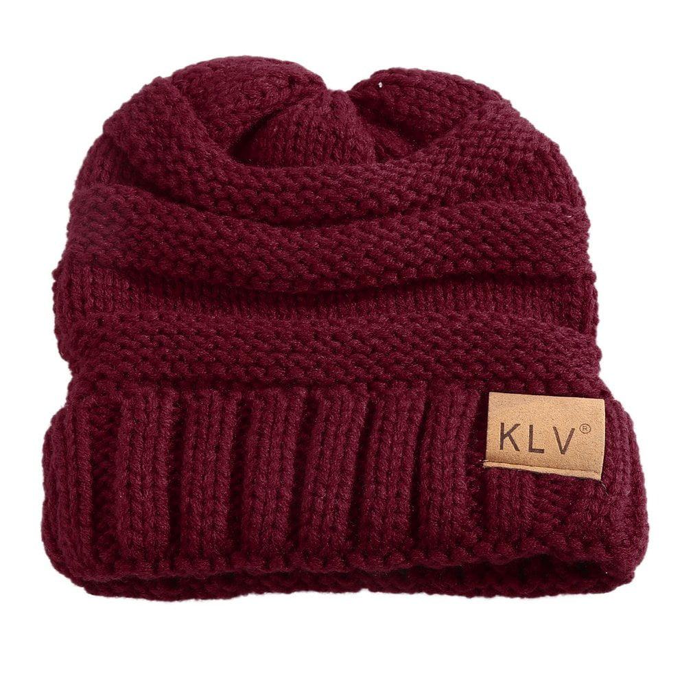 KLV Comfortable Winter Warm Unisex Children Kids Travel Casual Stripe Cap Plain Beanie Woolen Knitted Hat Rolled Cuff by