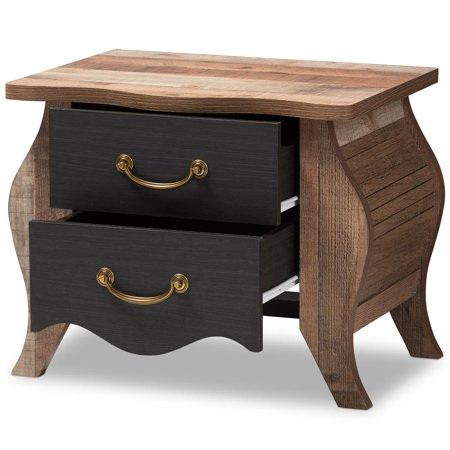 Baxton Studio Romilly Country Cottage Farmhouse Black and Oak-Finished Wood 2-Drawer Nightstand