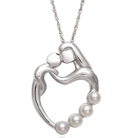Sterling Silver Cultured Freshwater Pearl Mother and Child Heart Pendant (Mother Of Pearl Silver Plated)
