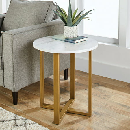Better Homes & Gardens Lana Modern Side Table with Faux Marble Top, Ideal for Any (Dining Room Maple Side Table)