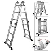 Hiltex 12.5' ft. Heavy Duty Multi Purpose Aluminum Ladder Folding Step Scaffold Extendable Ladder