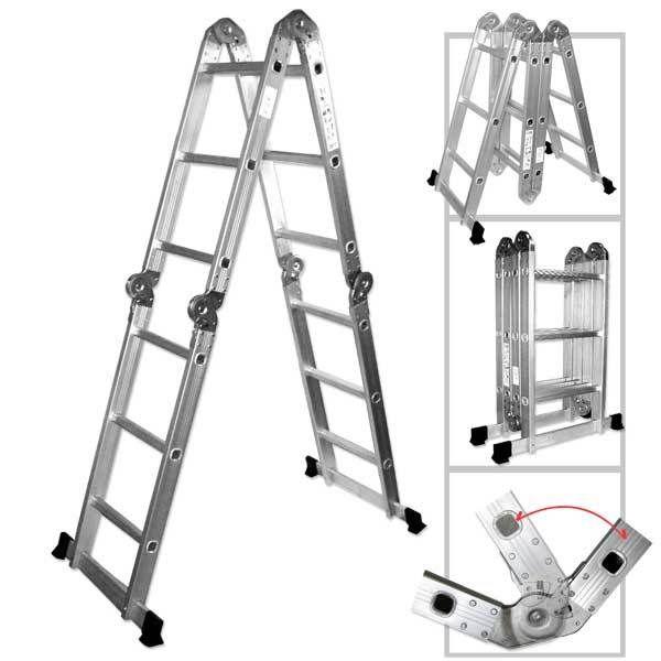 Hiltex 12.5' ft. Heavy Duty Multi Purpose Aluminum Ladder Folding Step Scaffold Extendable Ladder