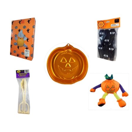 Halloween Fun Gift Bundle [5 Piece] -  Ghost Pumpkin Push In 5 Piece Head Arms Legs - Tombstone Containers Party Favors 6 Count - Wilton Iridescents Jack-O-Lantern Pan - Skeleton Server  - Pumpkin O - Halloween Jack In The Box Head