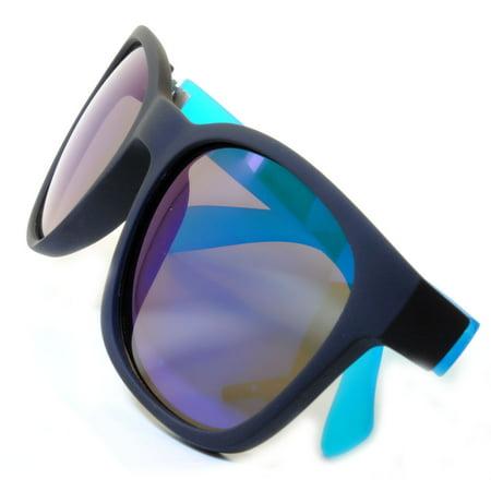 014 Retro Neon 80's Vintage Party Sunglasses Blue Frame Blue Mirror Lens OWL](Neon Plastic Sunglasses)