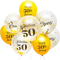 """50-Pack Cheers! Fabulous 50 Gold Foil Confetti Latex Balloons 12"""" for 50th Happy Birthday Party Supplies and Decorations, Ribbon Included"""