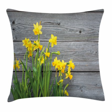 Yellow Flower Throw Pillow Cushion Cover, Bouquet of Daffodils on Wood Planks Gardening Rustic Country Life Theme, Decorative Square Accent Pillow Case, 18 X 18 Inches, Yellow Grey, by Ambesonne](Rustic Bouquet)