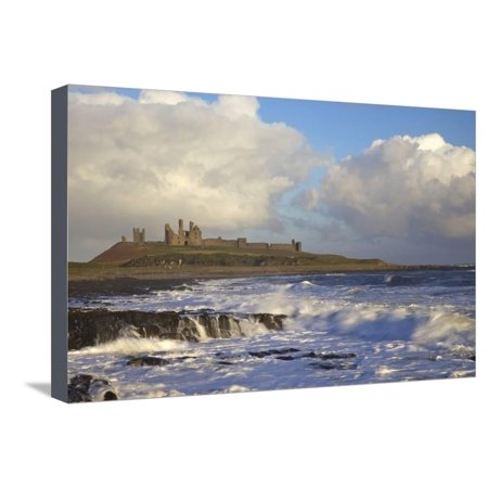 Surf on Rocks, Dunstanburgh Castle, Northumberland, England, United Kingdom, Europe Stretched Canvas Print Wall Art By Peter Barritt