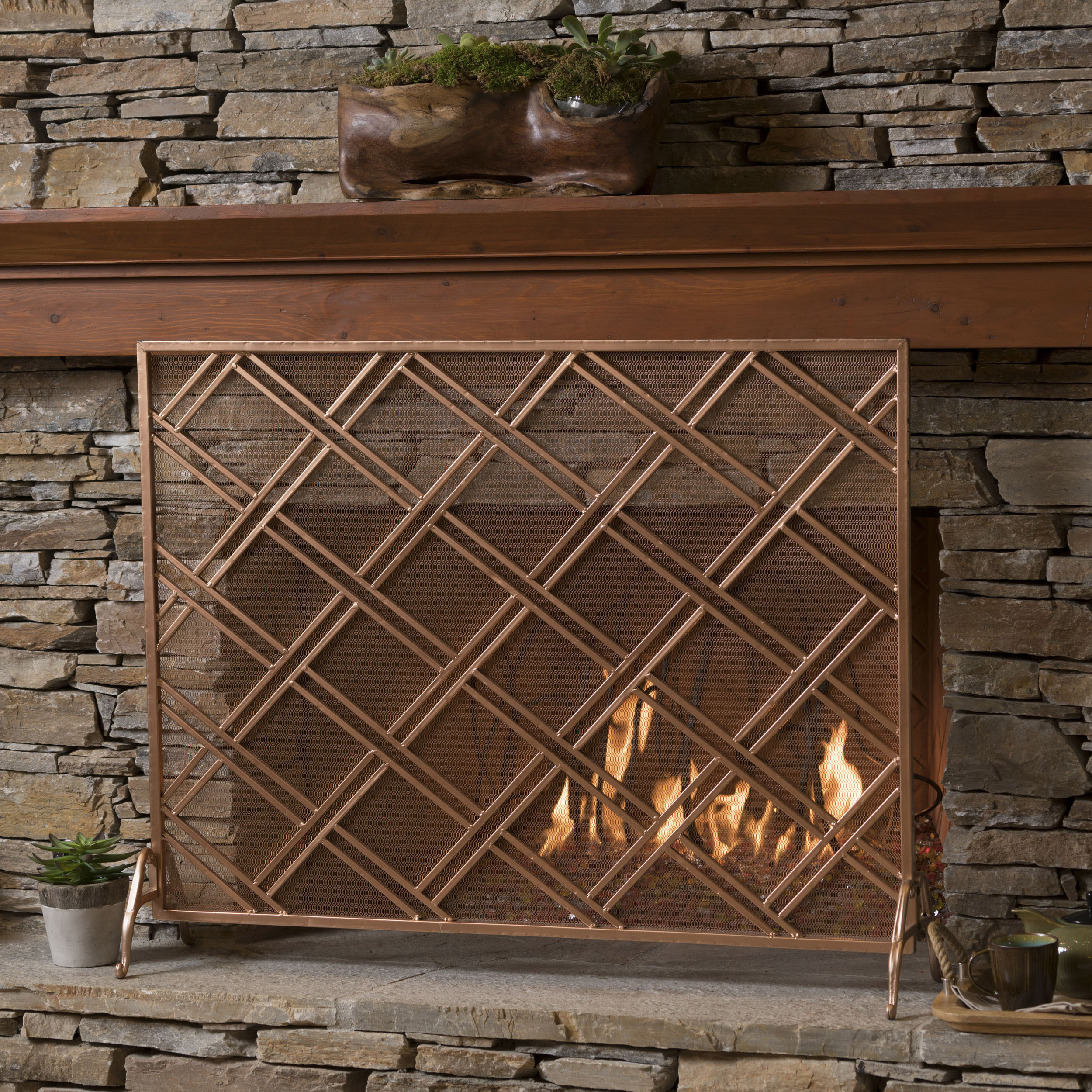 Noble House Single Panel Iron Fireplace Screen,Copper