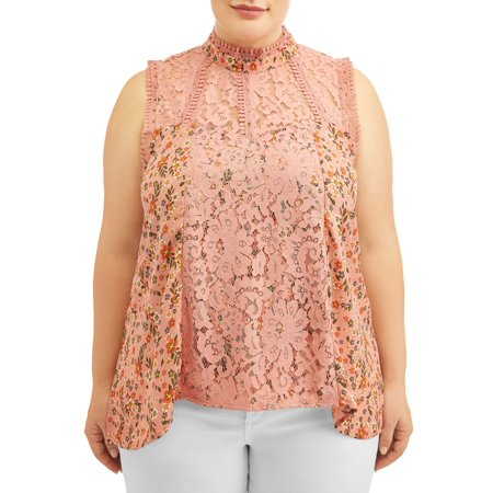 Women's Plus Size Printed Crochet Lace Victorian Top