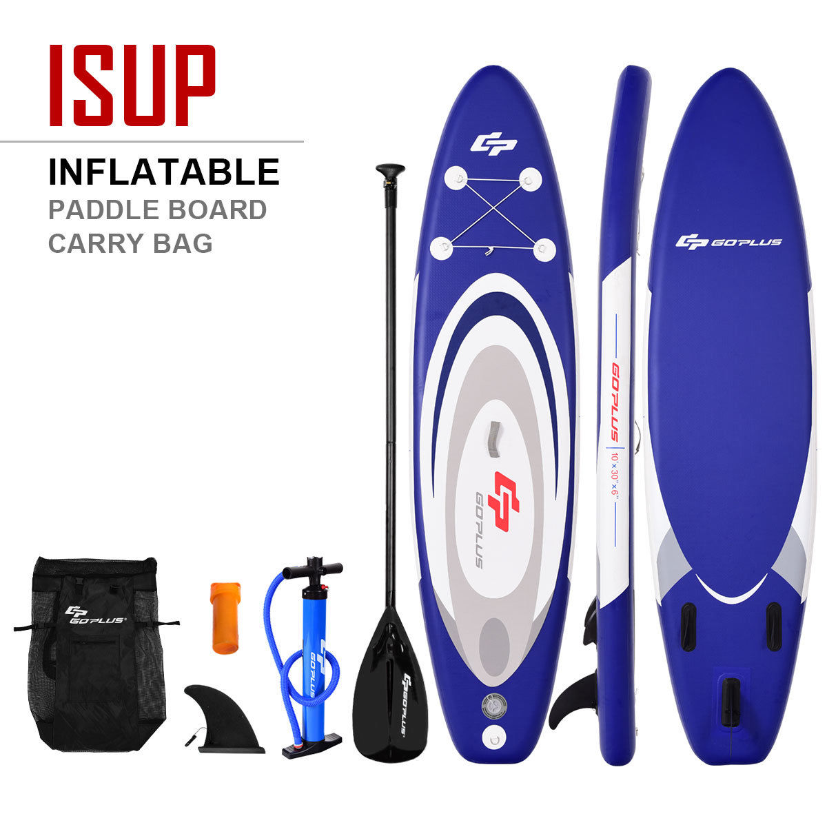 Goplus 10' Inflatable Stand up Paddle Board Surfboard SUP W  Bag Adjustable Paddle Fin by Costway
