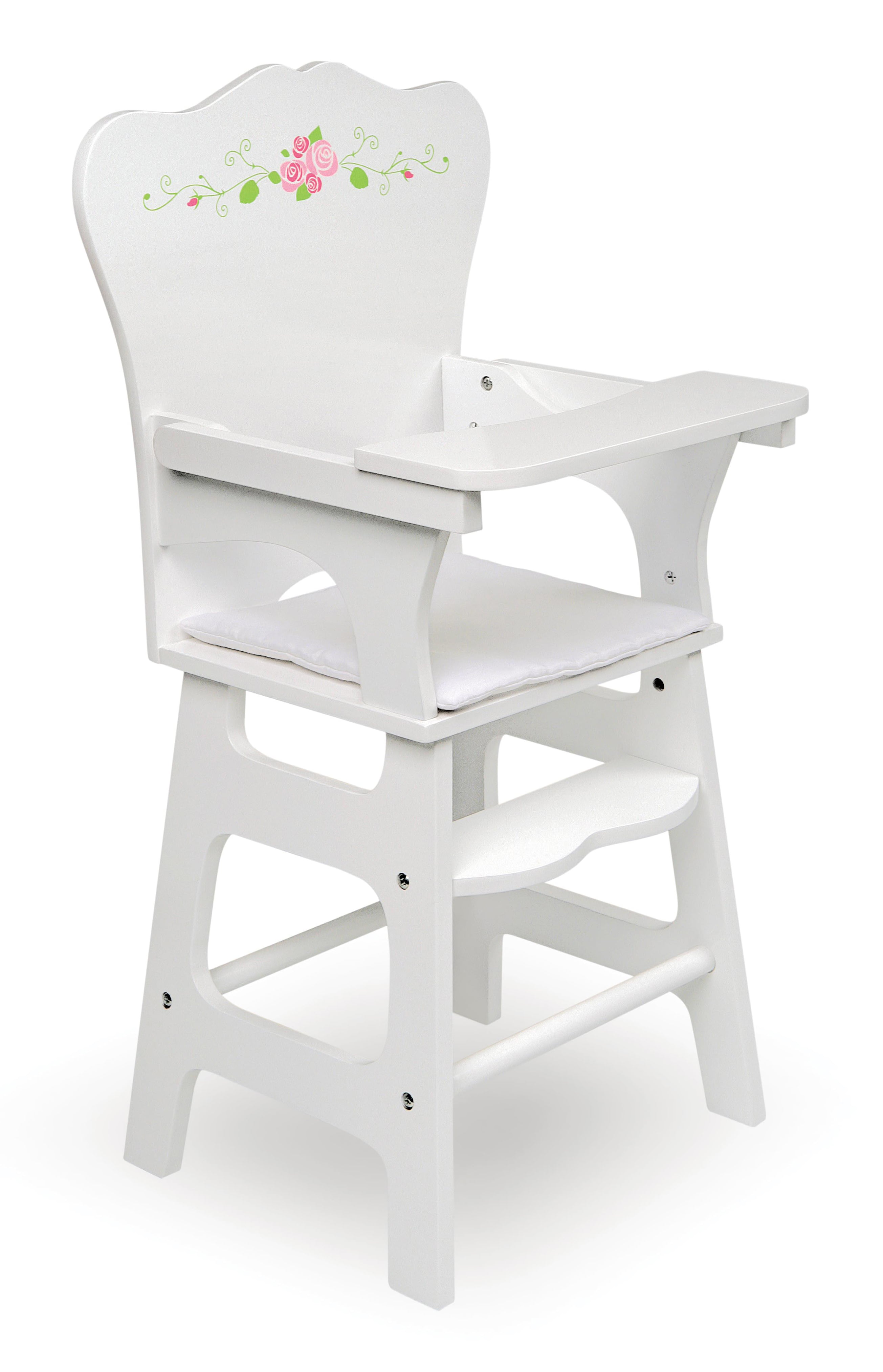 Badger Basket Doll High Chair with Padded Seat White Rose Fits American Girl, My Life As &... by Badger Basket