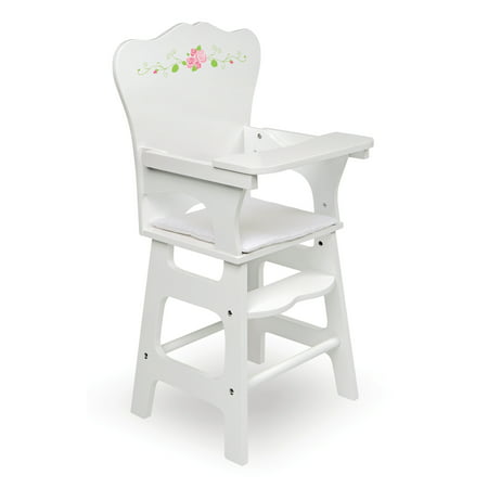 Badger Basket Doll High Chair with Padded Seat - White Rose - Fits American Girl, My Life As & Most 18