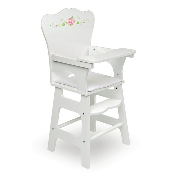 Badger Basket Doll High Chair With Padded Seat White Rose Fits