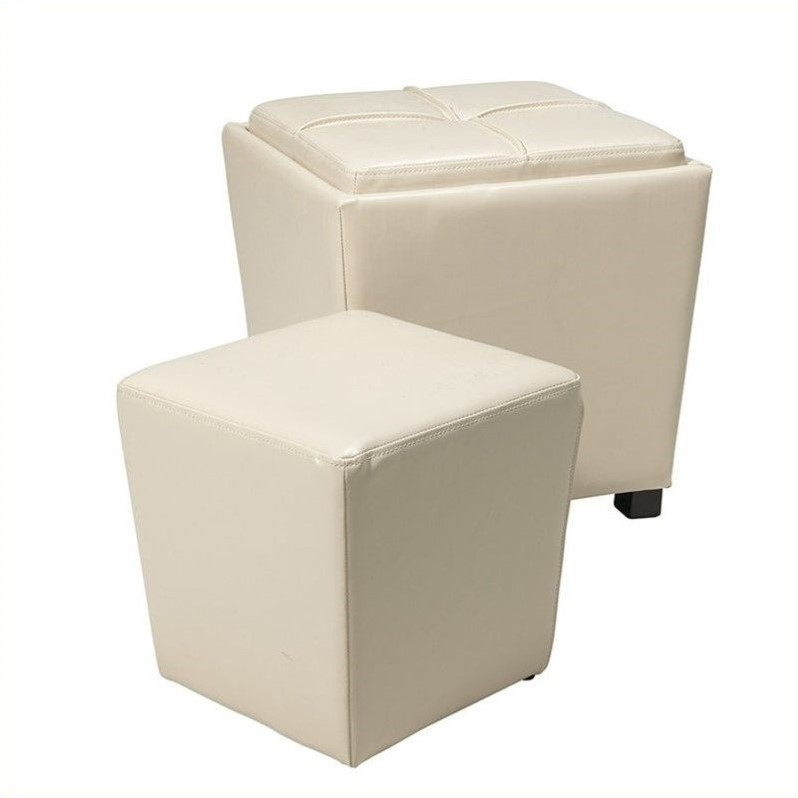 Office Star Metro 2 Piece Eco Leather Ottoman Set in Cream